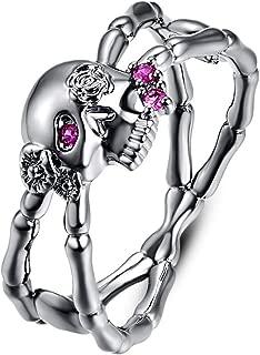 Psiroy 925 Sterling Silver Created Black Spinel Filled Criss Cross Skull Ring for Women