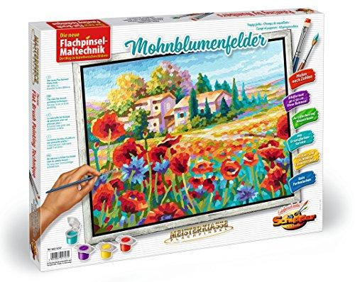 Noris Spiele Schipper 609430727 - Pintar por Números Técnica Pincel Plano - Campos de Amapolas, 40 x 50 cm