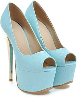 Pink Blue Platform Fish Mouth High Heels For Banquet Wedding Dress Daily (Color : Blue, Size : 42)