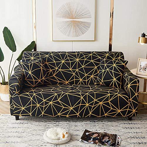 Funda Sofas 2 y 3 Plazas Línea De Oro Negro Fundas para Sofa con Diseño Elegante Universal,Cubre Sofa Ajustables,Fundas Sofa Elasticas,Funda de Sofa Chaise Longue,Protector Cubierta para Sofá
