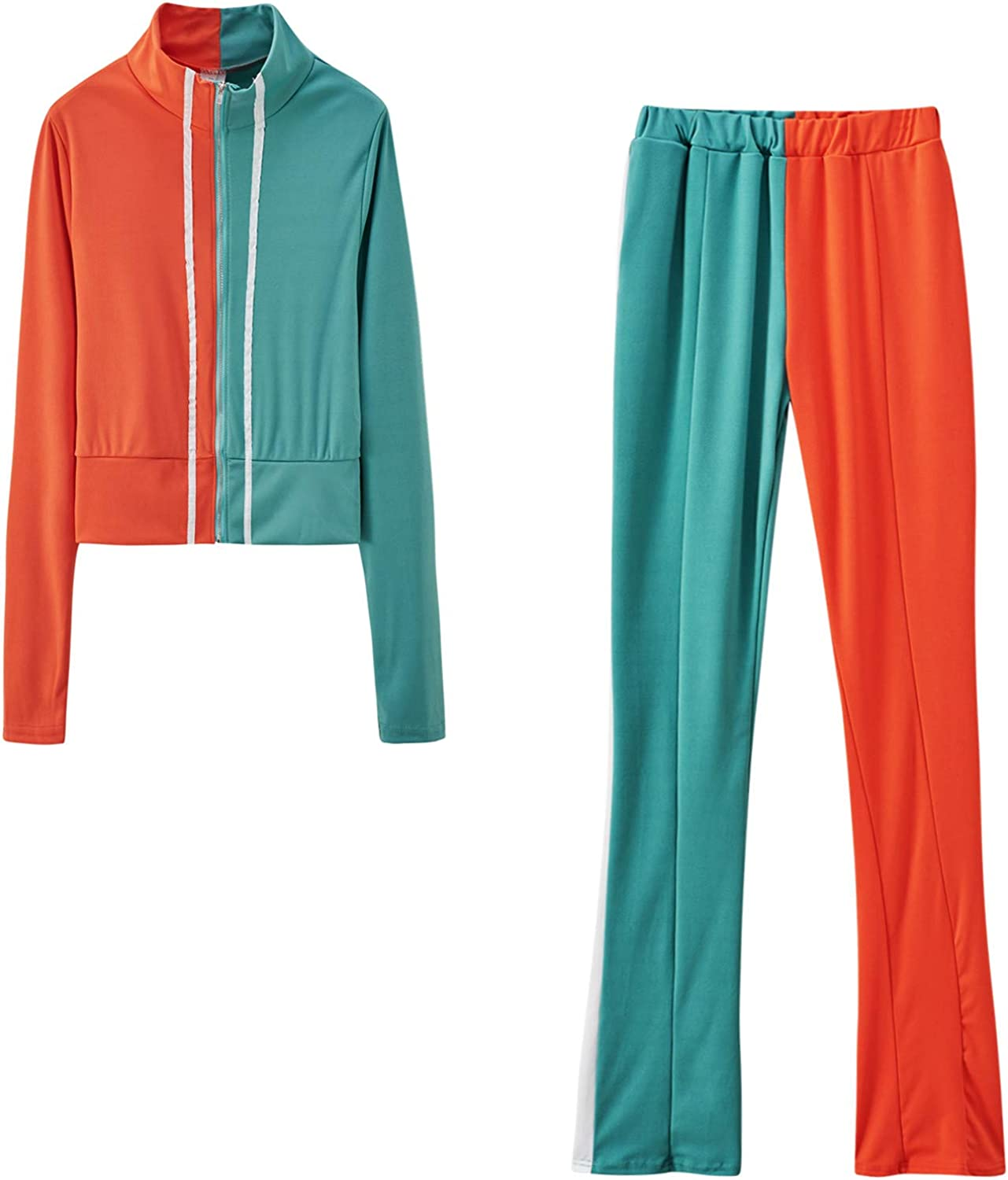 Kexle Women Splicing Super beauty product restock quality top Fashion Zipper Fixed price for sale Tracksui and Sweatshirt Pant