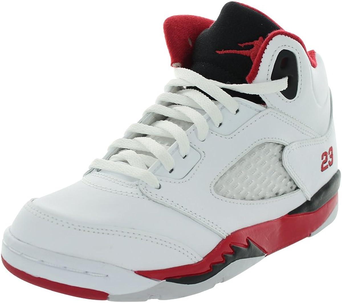 Jordan Nike 5 Retro White/Fire Red Kids (PS) Pre-School 440889-120 (Size: