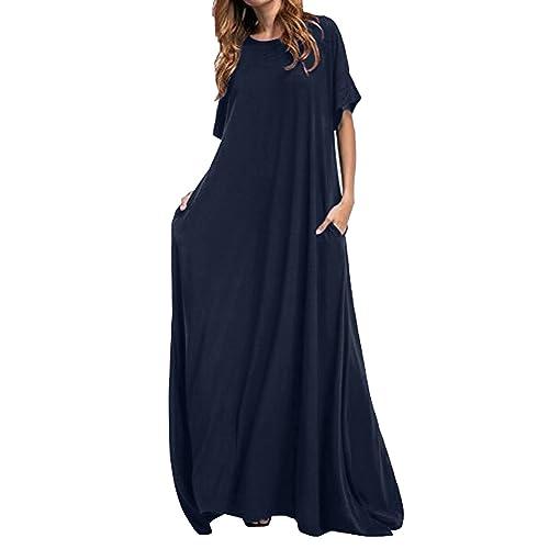 ce0fd5d98b Kidsform Women Maxi Dress Long Short Sleeve Baggy Ball Gown Solid Pocket  Party Long Dresses