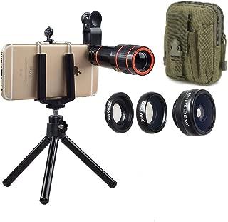 Mobile Cell Phone Camera Lens Kit. 4 in 1 Smartphone Cam Lens Kit + Bonus Compact Belt Waist Bag 5x2x7.5 in Green