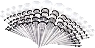 Lovoski 50pcs Acrylic Tapers Plugs Silicone Tunnels Piercing Set Ear Gauges Expander