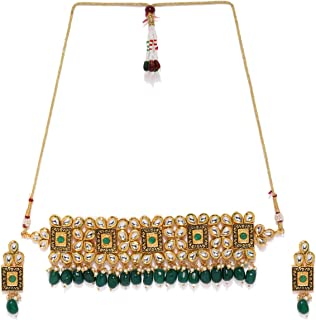 Zaveri Pearls Gold Tone Kundan & Dangling Green Beads Choker Necklace Set For Women-ZPFK8183
