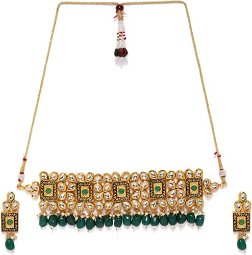 Gold Tone Kundan Dangling Green Beads Choker Necklace Set For Women ZPFK8183