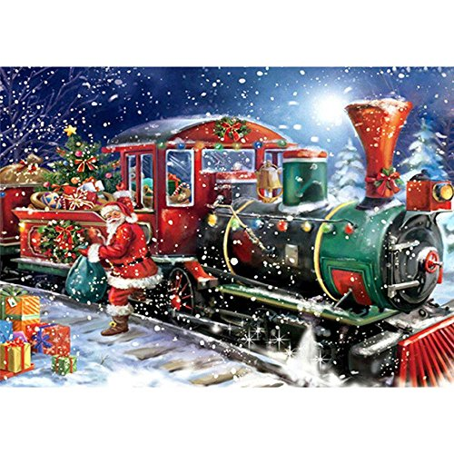 """Armfer-household supply Christmas DIY 5D Diamond Painting Kit Santa Claus Train with Gift Graphic Full Drill Rhinestone Pasted Paint Cross Stitch Embroidery Xmas Home Wall Decor Best Gift 11.8""""x15.7"""""""