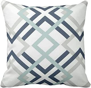 Emvency Throw Pillow Cover Navy Blue and Aqua Graphic Art Decorative Pillow Case Gray Home Decor Square 20 x 20 Inch Cushion Pillowcase