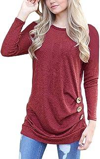 065fdf9a5959 Camisas Mujer Tallas Grande,EUZeo Primavera Otoño Blusa de Las Mujeres,Básica  Camiseta de