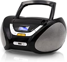 Lauson Boombox with Cd Player Mp3   Portable Radio CD-Player Stereo with USB   USB & MP3 Player   Headphone Jack (3.5mm) CP545 (Black)