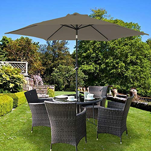 Greenbay 3m Garden Parasol Sun Shade Aluminium UV Outdoor Patio Umbrella With Crank Brown