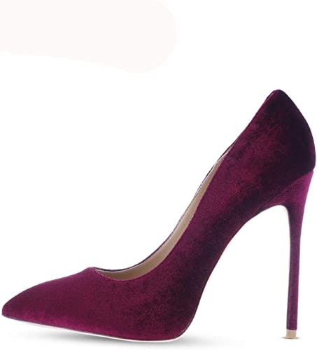 Robe chaussures High Heels chaussures Woman Pointed Toes Velvet Wine rouge big Taille 42 Thin Heels 12cm Velvet Wine 12cm 8