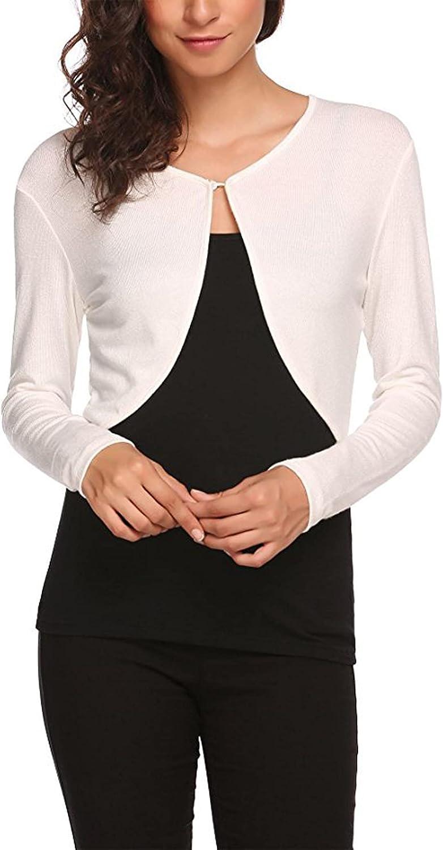 Women's Trendy Bolero Shrug Cropped Cardigan Long Sleeve Open Front Short Cardigans Loose Blouses for Dresses