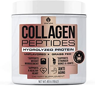 Seva Soul Collagen Peptides Powder, Hydrolyzed Powder, 100% Pure & Natural Ingredients, Grass-Fed, Non-GMO, Unflavored & Colorless Collagen Peptides, Dairy and Gluten Free, (16 oz)