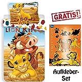 CR-Lights Disney König der Löwen Bettwäsche Simba Timon Pumba Kopfkissen Bettdecke für 135x200...