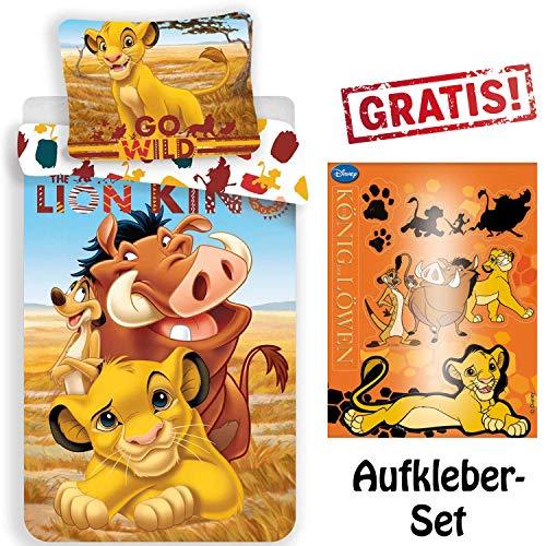 CR-Lights Disney König der Löwen Bettwäsche Simba Timon Pumba Kopfkissen Bettdecke für 135x200 Gratis Sticker