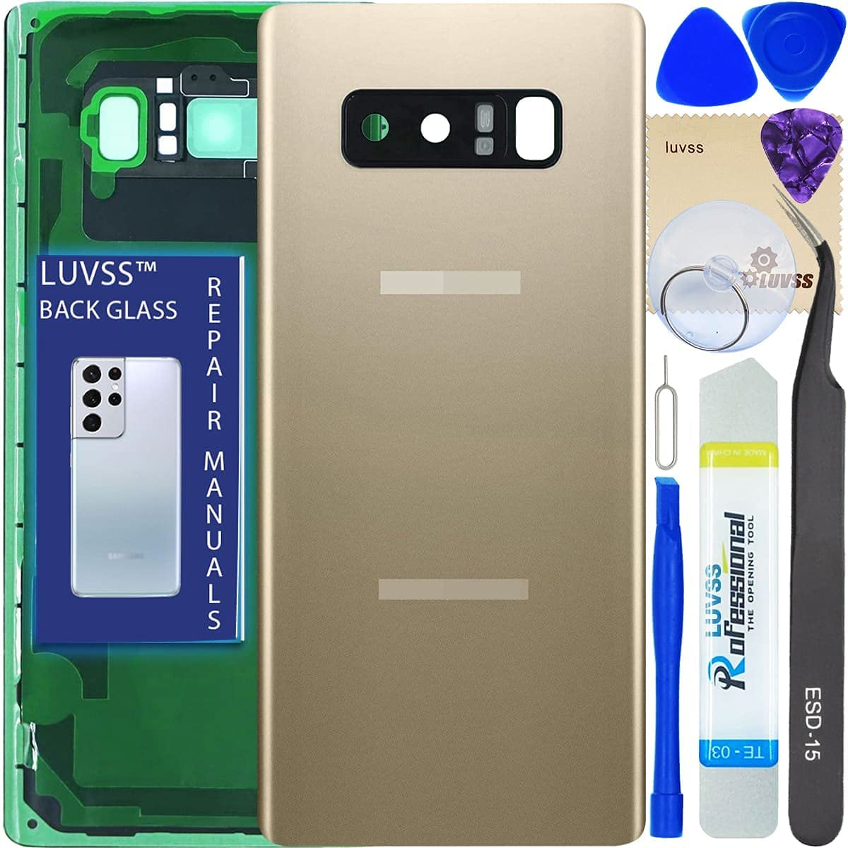 LUVSS Glass for Samsung Galaxy Note 8 SM-N950 Backing Glass Replacement Panel Cover Case Housing + Camera Lens with Repair Manual DIY Tools Kit (Maple Gold)