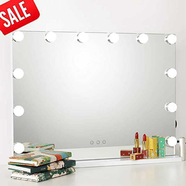 ICREAT Makeup Mirror With Lights Hollywood Vanity Mirror 3 Color Modes Cosmetic Mirror Frameless Tabletop Mirror With Smart Touch Control 12 Dimmable Bulbs USB Outlet White