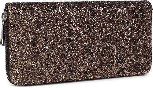 styleBREAKER Geldbörse mit All Over Pailletten, umlaufender Reißverschluss, Portemonnaie, Damen 02040060, Farbe:Braun