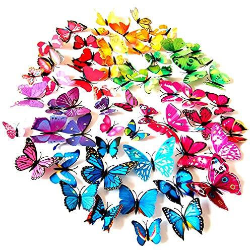 Foonii 3D Farfalle Adesivi Murale Arte Adesivo Murali per pareti vari colori decorazione casa stickers murali (108 Pezzi)