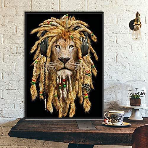KWzEQ Drucken auf Leinwand Modernes Onhomewall-Kunstbild des Tierlöwen,60x75cm,Rahmenlose Malerei