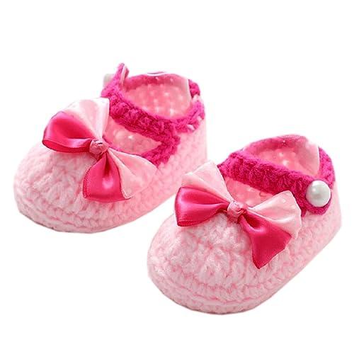 d4ba27e8c452f0 Koly Newborn Baby Girls Crib Crochet Handmade Knit Sock Infant Bowknot  Prewalker Shoes 3 -12