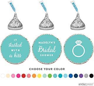 Andaz Press Personalized Chocolate Drop Labels Trio, Fits Hershey's Kisses Party Favors, Wedding Bridal Shower, 216-Pack, Custom Any Name, Bride & Co Inspired Bridal Shower Party Decor Decorations