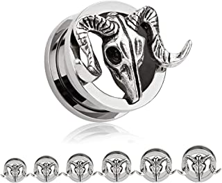 TBOSEN 2 pcs Titanium Alloy Retro Ram Goat Skull Ear Plugs Large Gauges Stretching Screw Fit Tunnels