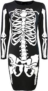 Momo&Ayat Fashions Tamaño señoras de Las Muchachas del Esqueleto de Halloween Vestido Bodycon Polainas Body Plus 36-54 Euros