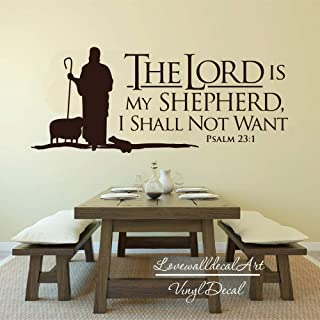 Andre Shop Psalms 23 The Lord is My Shepherd Decal Christian Jesus Bible Verse Religious Wall Decal Vinyl Sticker Lettering Words Living Room Bedroom Custom Color