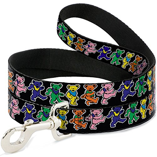 Dog Leash Dancing Bears Black Multi Color 6 Feet Long 1.0 Inch Wide