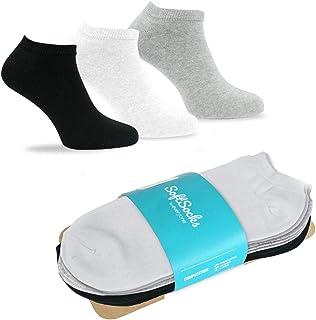 SoftSocks Calcetines Cortos 6 Pares Hombre Mujer Tobillero Sneaker Low Cut Algodon Verano ¡Negro, Blanco o Mixto