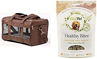 Sherpa Travel Original Deluxe Airline Approved Pet Carrier, Medium, Brown and OlviPet Healthy Bites Crunchy Treats
