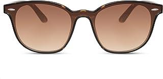 Cheapass Lunettes de soleil rondes miroir rectangulaire UV400 Accessoire de festival unisexe - Marron -