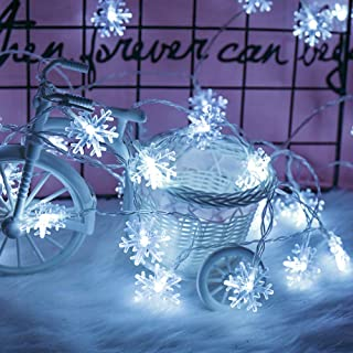 Christmas Decorations, 2 Pack LED Snowflake Lights, Holiday Outdoor Decorations Lighted for Home,Total 20Ft & 40 Snowflake String Lights Christmas Decorations