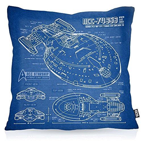 VOID NCC-74656 Cianotipo Cojín con Dibujo Funda de cojín Funda para Outdoor Indoor Fotocalco Azul Voyager, Kissen Größe:40 x 40 cm