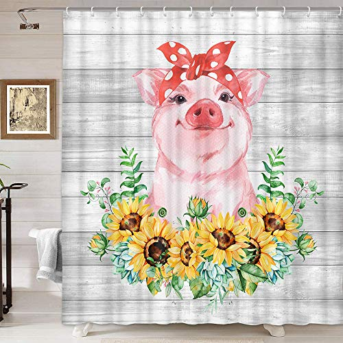 Farmhouse Animals Funny Pig and Sunflowers Shower Curtain, Country Cute Farm Animals with Floral Shower Curtain for Bathroom,Fabric Vintage Rustic Wooden Bathroom Accessories Curtain Decor, 69X70IN