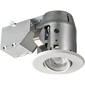 """Globe Electric Global Electric 3"""" Trim Recessed Lighting Kit, Finish, Easy Install Push-N-Click Clips, 3.25"""" Hole Size 90679, 1 pack, White Round Swivel"""