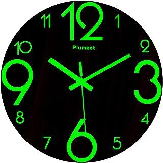Plumeet Luminous Wall Clocks, 12 inch Non-Ticking Silent Wooden Clock, Large Decorative Kitchen Office Bedroom (Wood)