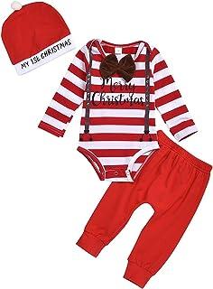puseky baby boys my first christmas outfit streifen langarm strampler  hose  hut weihnachten kleidung set