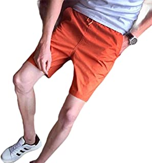 Men's Candy Color Casual Style Cotton Slim-Fit Straight Short Beach Shorts