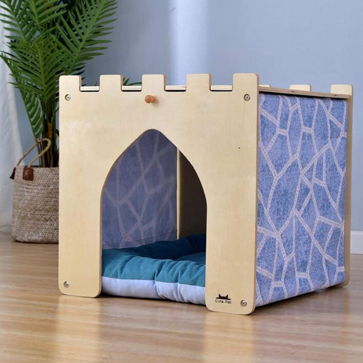 Cat Nest Indoor Creative Dog House Wooden Small Dog Pet House Multifunction Small Table Pet Villa SMBYLL (color   B, Size   S)