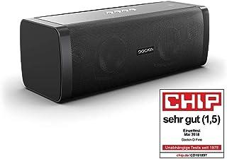 DOCKIN D Fine Altavoz Portátil Bluetooth de 50W Impermeable IP55, hasta 10 Horas de Reproducción con Sonido de Alta Fidelidad y Estereo, Powerbank, NFC, Negro, Diseñado en Alemania
