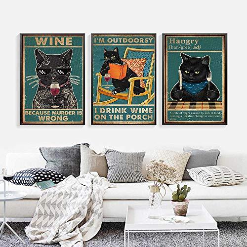 Carteles e Impresiones de Gatos Divertidos de Dibujos Animados Pintura de Lienzo Vintage Cuadros de Arte de Pared para Sala de Estar Cocina Vino Decoración para el hogar-40x60cmx3 (sin Marco