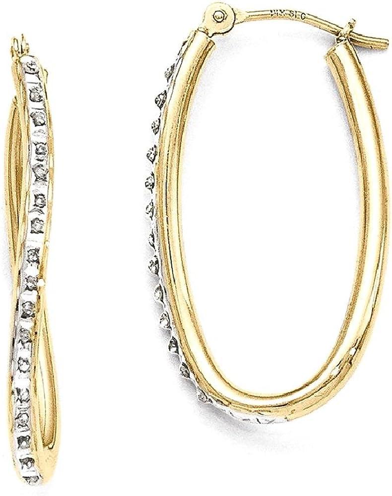 14k Yellow Gold Diamond Fascination Oval Twist Hoop Earrings Ear Hoops Set Fine Jewelry For Women Gifts For Her