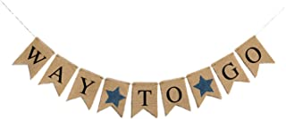 Graduation Decorations 2021-Ailyther-Eco-friendly Burlap Banner Linen Swallowtail Pull Flag Party Supplies-WAY TO GO-BLACK...