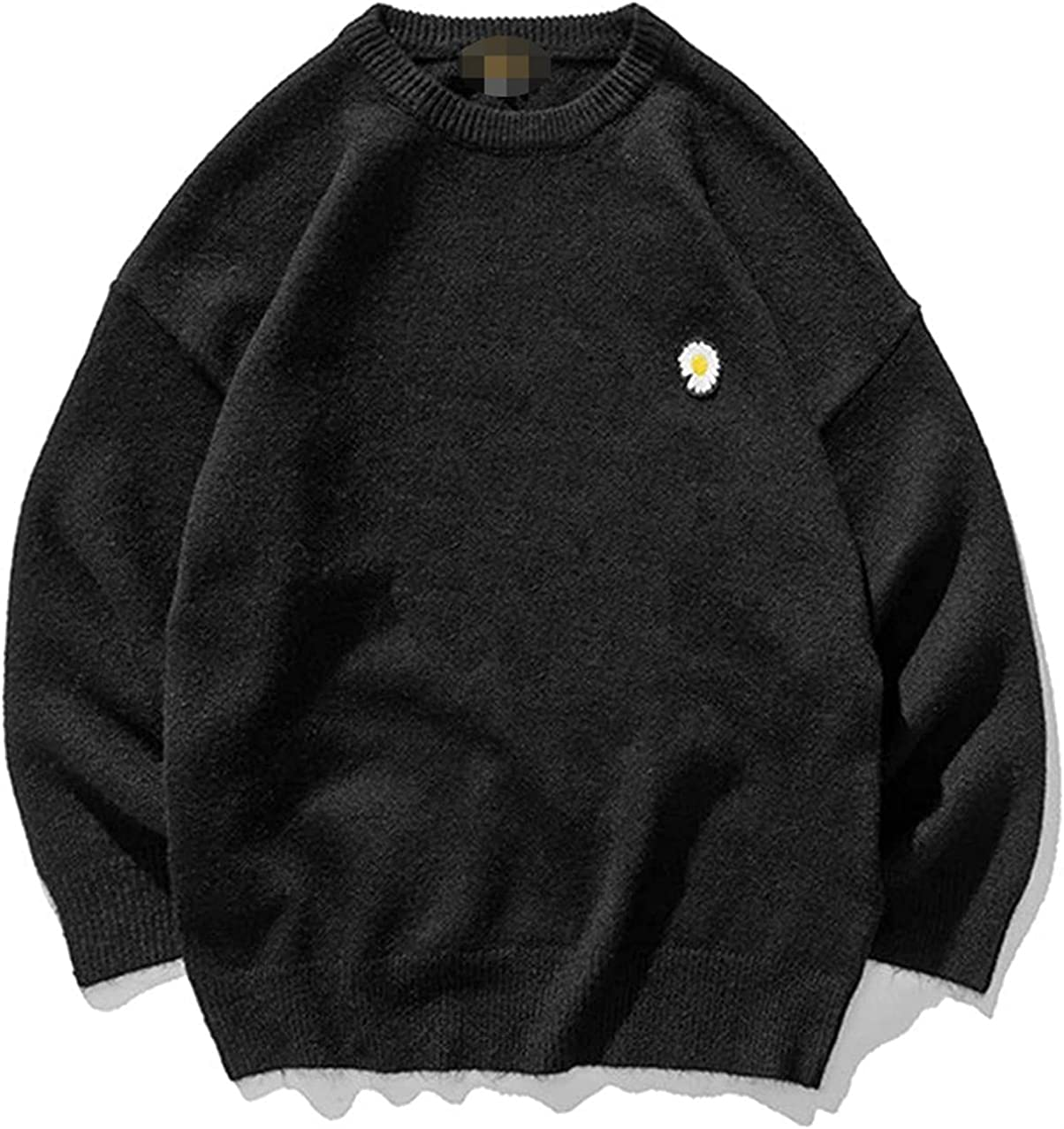 JOAOL Men Harajuku Flower Winter Knitted Sweater Pullover Kpop O-Neck Wool Sweater Casual Clothes