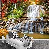 Tapete Wasserfall, Naturlandschaft, Felsen Moderne Wanddeko Design Tapete Wandtapete Wand Dekoratio TV Hintergrundwand 300x210 cm