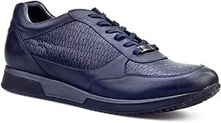 Cabani Croco Baskı Bağcıklı Sneaker Erkek Ayakkabı Lacivert Deri